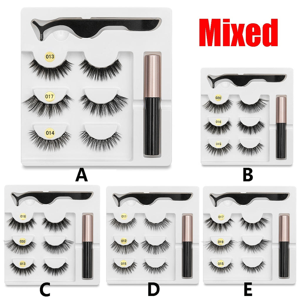 3 Pairs Magnetic Eyelashes with 1Pc Magnetic Liquid Eyeliner with 1Pc Tweezers Natural Long Faslse Eyelashes 3D Mink Eyelashes Makeup