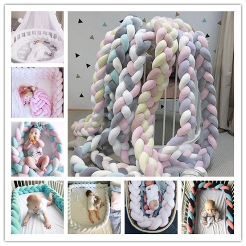 17 Colors Baby Fashion Weave Colored Strip Soft Knot Pillow Decorative Baby Bedding Sheets Braided Crib Bumper Knot Pillow Cushion