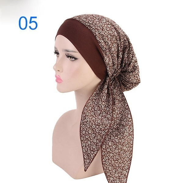 Fashion Women New Printed Dots Cherry Elastic Band Soft Hair Band Turban Hat Chemotherapy Hat Hair Accessories