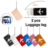 2pcs Aluminium Alloy Luggage Tags Luggage Identification Plate Baggage Name Tags