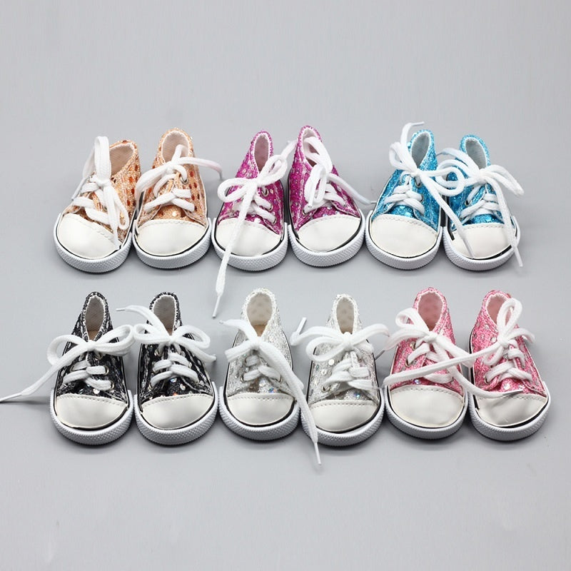 Pink Cute Doll Shoes for 18 Inch Baby Doll Handmade Sneakers Girl Clothes Accessories Baby Doll