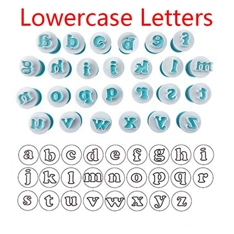 LOMISS 10/26PCS Number Upper & Lowercase Cake mould Alphabet Cookie Cutter Plastic Capital Letters Fondant Cutter Baking Cupcake Mold Cake Decorating wlmC-190529020A05