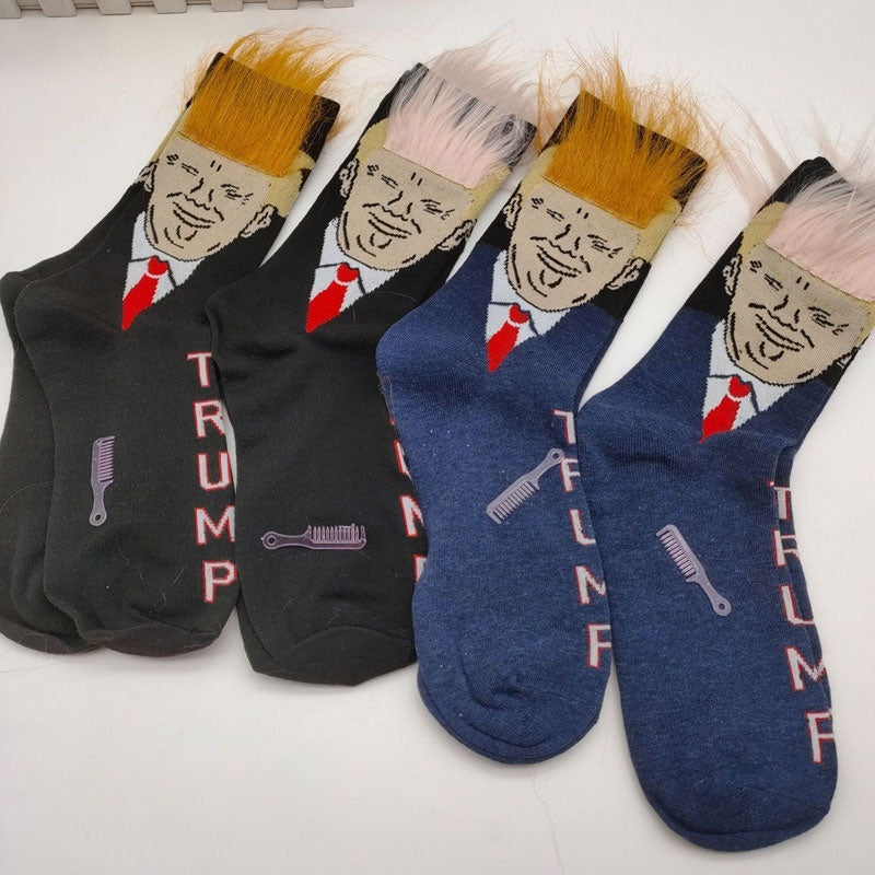 Funny Weird Socks Frying Trump Printing Mid Stockings Spoof Socks One Size