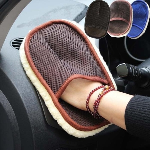 Car Care Cleaning Brushes Polishing Mitt Brush Super Clean Wool Car Wash Glove Sponge Waxing Car Cleaning Tool Random Color