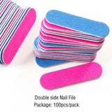 100pcs Nail File 180/240 Mini Double Color Wooden Sanding Buffer Block Manicure Beauty Professional Tools For Lime a Ongle