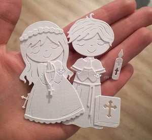 New Crafts Metal Steel Cutting Dies 2019 New Praying boy girl Stencil For DIY Scrapbooking Paper/photo Cards Embossing Dies