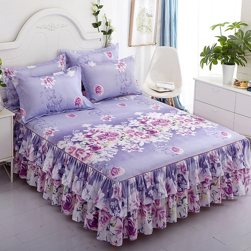 Flower Pattern Printed Ruffled Elastic Bed Skirt (2 Pieces Pillowcase Optional ) Set Twin/ Full/ Queen/ King/CA King Size 6 Colors Purple/ Pink/ Blue&Grey/ Blue/ Light Purple/ Rose Red