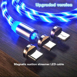 LED Glow Flowing Magnetic USB Cable for IPhone Xs Max Magnet Micro USB Type C Cable for Samsung Galaxy S9 S8 Fast Charger for Xiaomi Huawei