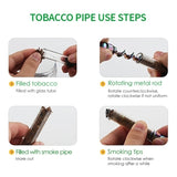 Design Smoking Pipe Tobacco Pipes Mini Glass Blunt Metal Tip With Cleaning Brush