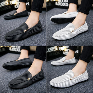 Mens Casual Slip-on Flat Shoes Breathable Striped Flat Shoes Plus Size Men Driving Shoes Doug Shoes