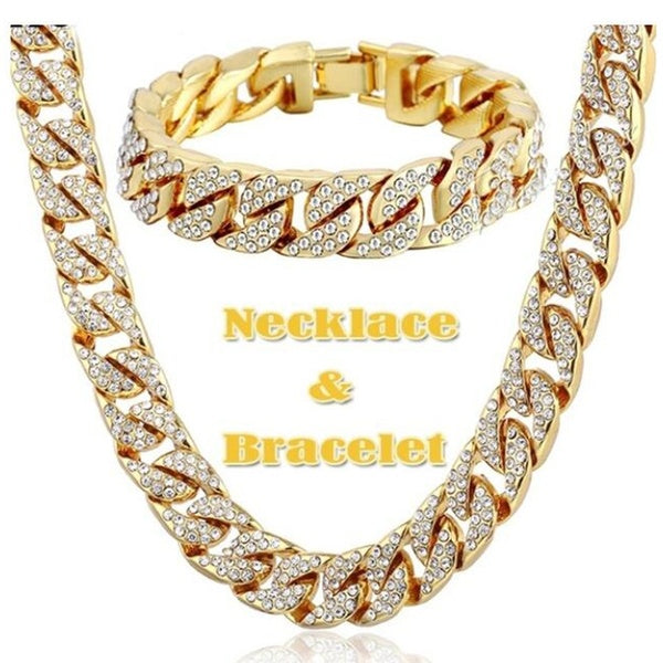 Jinlan-Z Men Hip Hop Gold Plated Iced Out Shiny Full Simulated Clear Miami Cuban Link Chain Necklace OR Bracelet 7-35 Inch