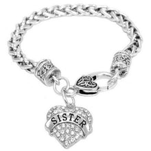 Load image into Gallery viewer, Family Members Heart Shape Inlaid Rhinestone Retro Chain Bracelet Gifts Sister Aunt Faith Grandma Best Friend Mom Mimi Nana Pendant