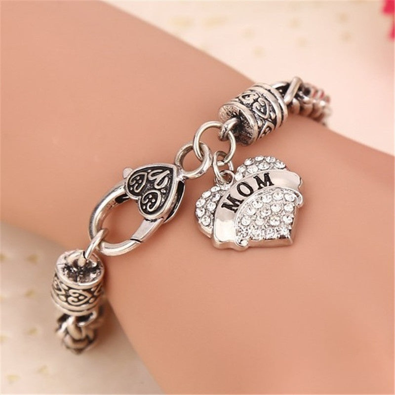 Family Members Heart Shape Inlaid Rhinestone Retro Chain Bracelet Gifts Sister Aunt Faith Grandma Best Friend Mom Mimi Nana Pendant
