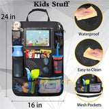 Car Back Seat Organizer for Kids Kick Mats with Touch Screen Tablet Holder + Multi Pockets Car Organizer Car Travel Accessories(2 pcs)