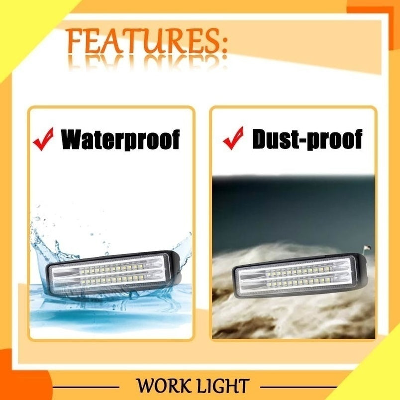 6 INCH 144W Offroad Work Light LED Work Light Bar Spotlight Off-road Led Work Light Bar Driving Fog Lamp for Truck Boat ATV Car Accessories Offroad Led Light Bar Led Work Light
