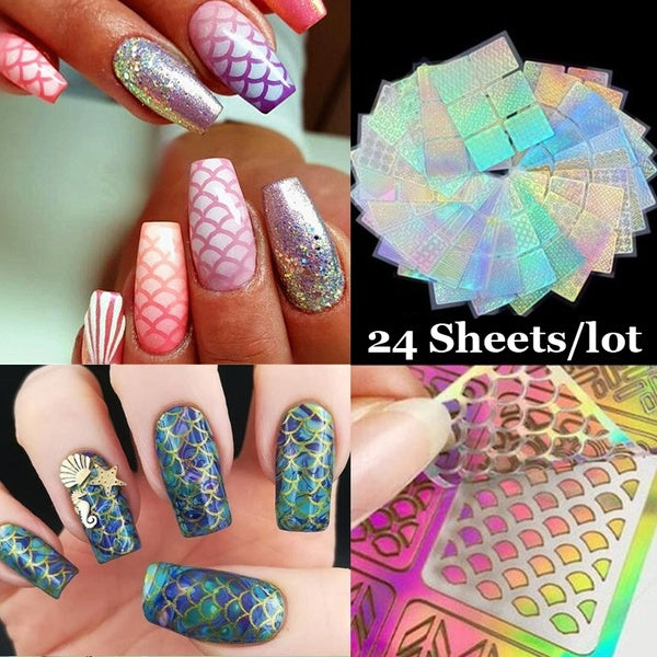24 Sheets Nail Art Hollow Laser Sticker Stencil Set Gel Polish Nail Vinyl Tip Transfer Guide Template Nail Decals Kit