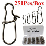 250Pcs/Box Rings Fishing Connector Strong Nice Swivels Lock Snaps for Fishing Freshwater Saltwater