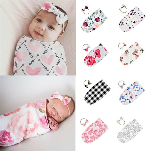 Soft Stretchable Baby Sleep Sack Baby Sleeping Bag Newborn Sage Swaddle Muslin Wrap with Matching Bow Headwear (0-2 months baby)