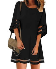 Load image into Gallery viewer, Summer Women Fashion Short Sleeves Round Neck Flared Sleeves Casual Dresses Solid Color Patchwork Hollow-out Loose Mini Dresses Short Dresses Plus Size