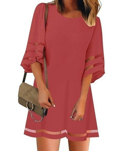 Summer Women Fashion Short Sleeves Round Neck Flared Sleeves Casual Dresses Solid Color Patchwork Hollow-out Loose Mini Dresses Short Dresses Plus Size