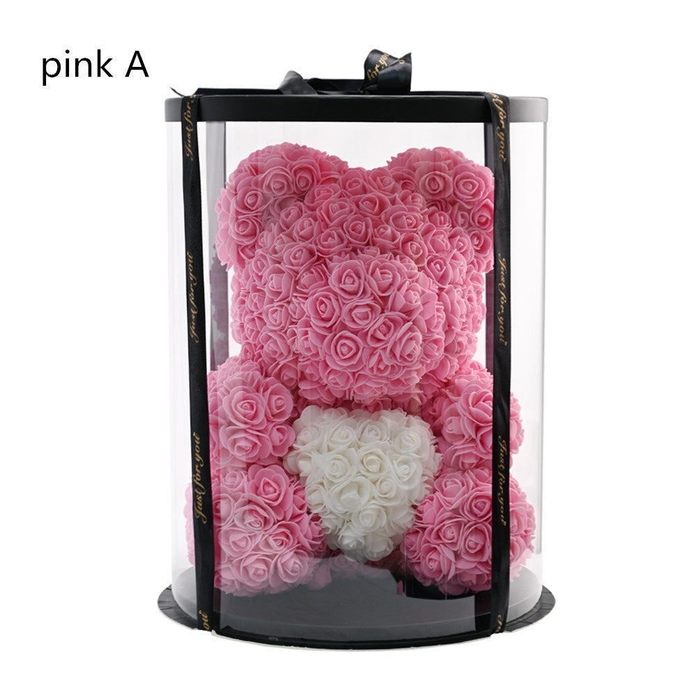 38cm Bear Rose Teddy Bear Rose Flower Artificial Decoration DIY Wedding Decoration Gifts for Festival Gift
