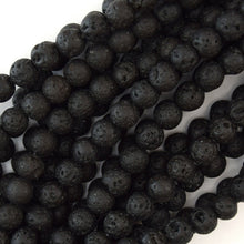 Load image into Gallery viewer, Natural Stone Beads Black Lava Rock Round 4-16MM For Jewelry Making Gemstone