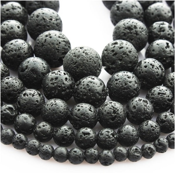 Natural Stone Beads Black Lava Rock Round 4-16MM For Jewelry Making Gemstone