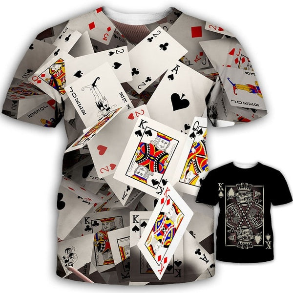 Funny Playing Cards Poker T-shirt 3d Print Unisex Cool Tee Shirt