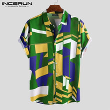 Load image into Gallery viewer, INCERUN Mens Geometric Print T Shirt Floral Breathable Vacation Beach Casual Shirts Tee