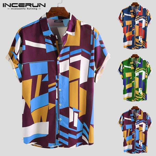 INCERUN Mens Geometric Print T Shirt Floral Breathable Vacation Beach Casual Shirts Tee