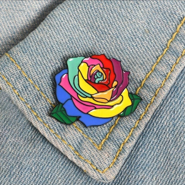 Rainbow Rose Flower Brooch Cartoon Brooch Pins Corsage Shirt Bag Cap Jacket Lapel Pin Badge Fashion Gift Brooches Accessories