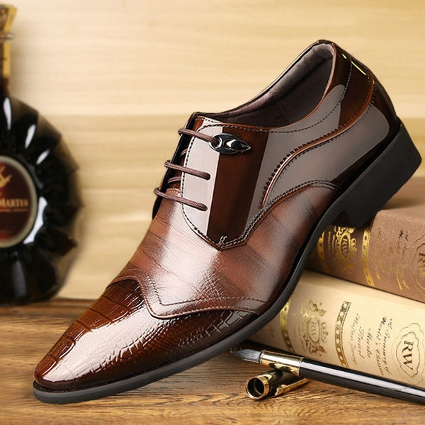 Italian Design Men Shoes Luxury Brand Men Pointed Toe Leather Shoes Men Lace Up Business Wedding Shoes Breathable Shoes Fashion Dress Shoes Chaussures Homme Large Size 38-48
