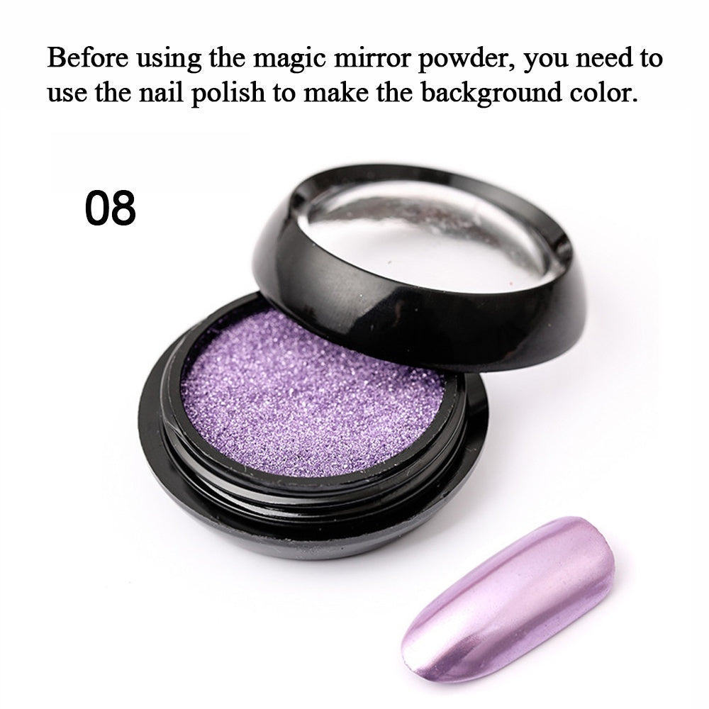 YAYOGE Nail Mirror Powder 11 Colors Aurora Laser Powder Chrome Pigment DIY Nail Art Decoration