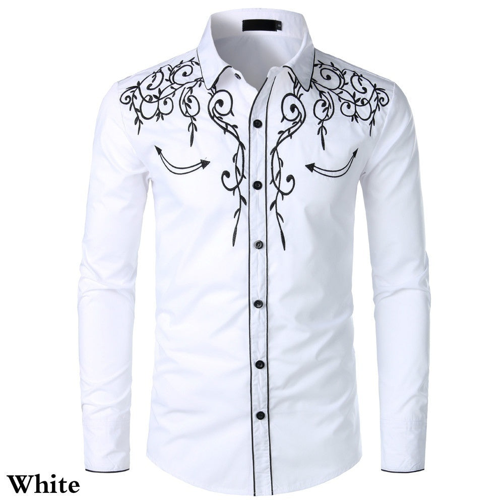 Mens Western Cowboy Shirt Stylish Embroidered Slim Fit Casual Long Sleeve Button Down Party Shirts