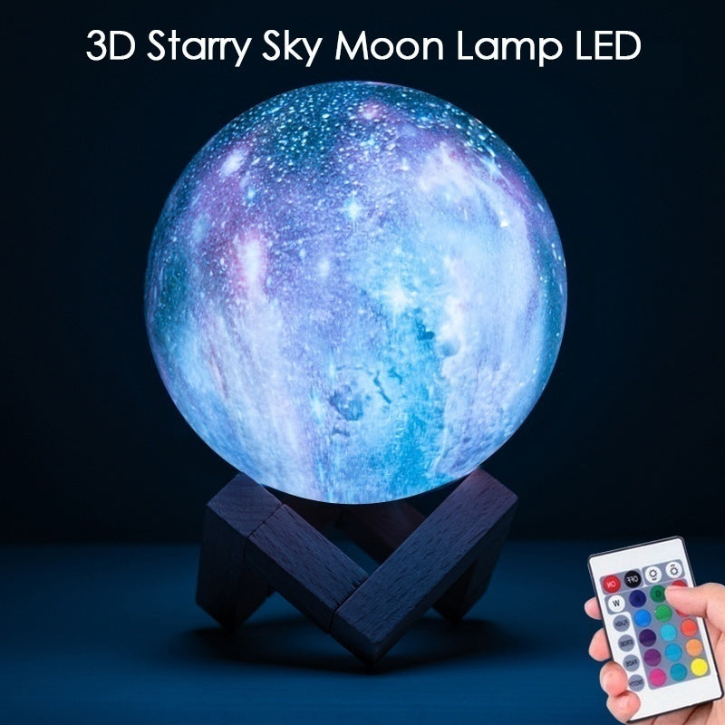 16 Colors New Painted Colorful Stars 3D Printed Moon Lights Moon Planet Night Light Gifts with Remote Control Slap/touch To Change Light