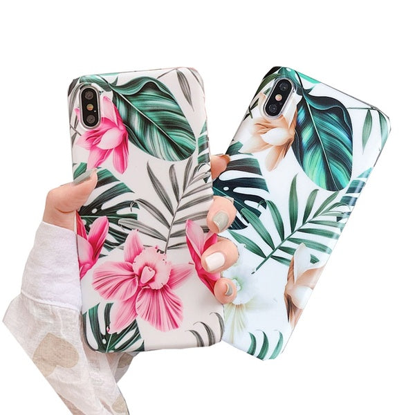 2019 Retro Flower Leaf Soft Phone Case Cover For Apple IPhone 8 Plus X XS Max XR