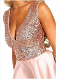 Women's Fashion Sleeveless Party Dress Backless Irregular Chic Evening Dress Deep V-neck Sequined Pleated Short Dress