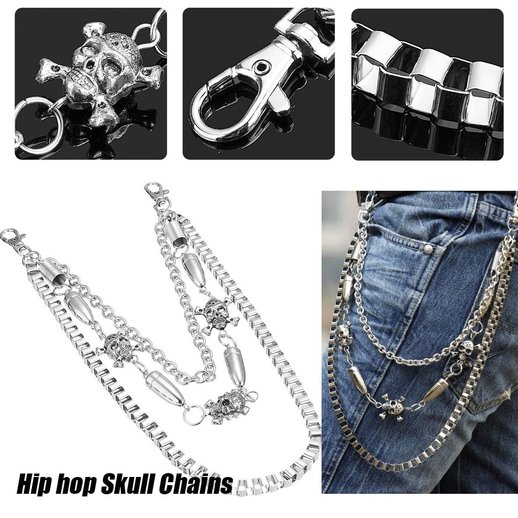 Mens Hip hop Skull Pattern Jeans Rock Waist Pant Chain Wallets Accessories