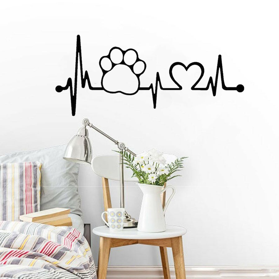 Cartoon Cat Dog Electrocardiogram Wall Stickers Football Game Heartbeat Sticker Mural Decals for Home Decoration