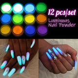 12colors/Set Phosphor Nail Glitter Glow In The Dark Pigment Nail Dust Fluorescent Effect Luminous Powder Glitter Nail Art Accessories