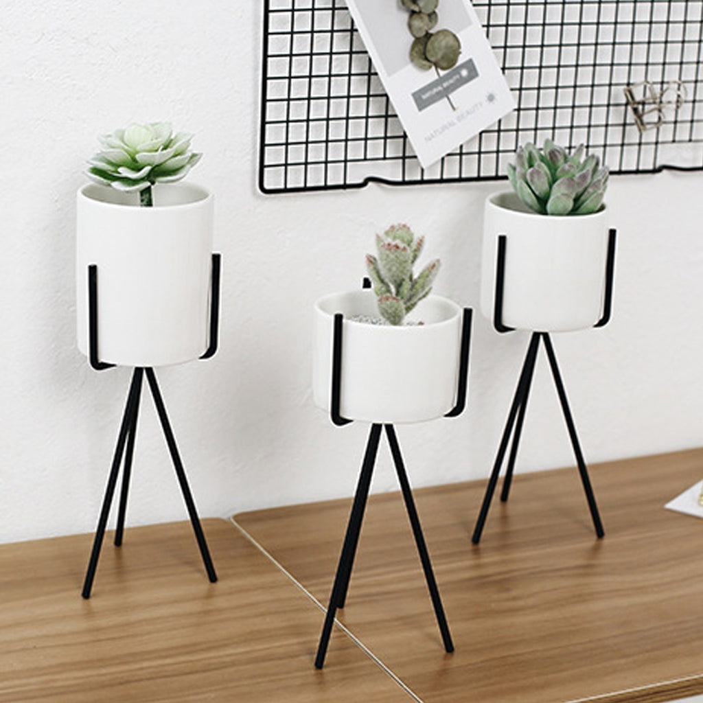 Home Office Shop Metal Plant Stand Flower Pots Shelves Rack Holder Ceramic Vase with Iron Frame