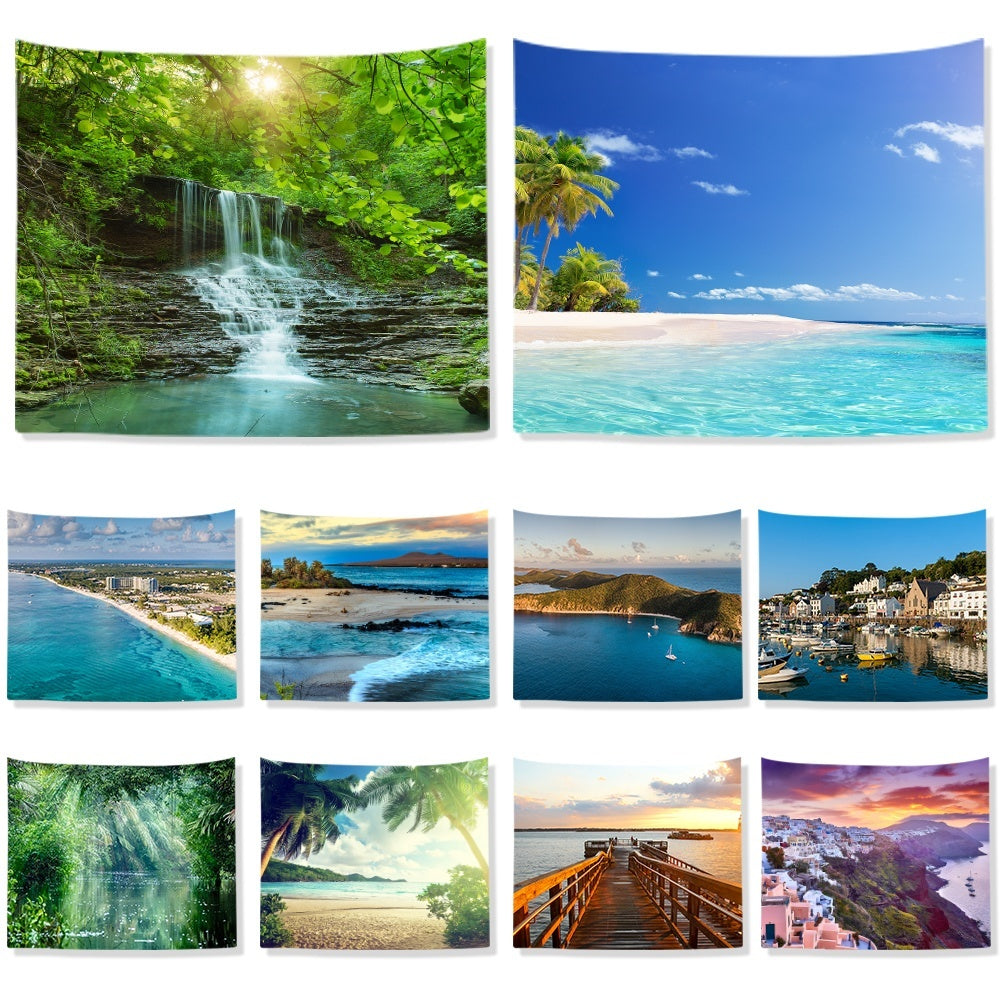 3D Printed Beach Seascape Forest Tapestry  Sight Wall Hanging Polyester Fabric Sheet Home Art Decorative Landscape Tapestry