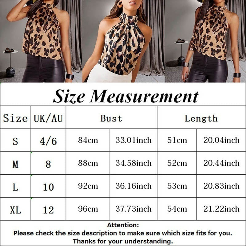 Women Leopard Print Tank Top Sexy Off Shoulder High Collar Halter Camisole Tops