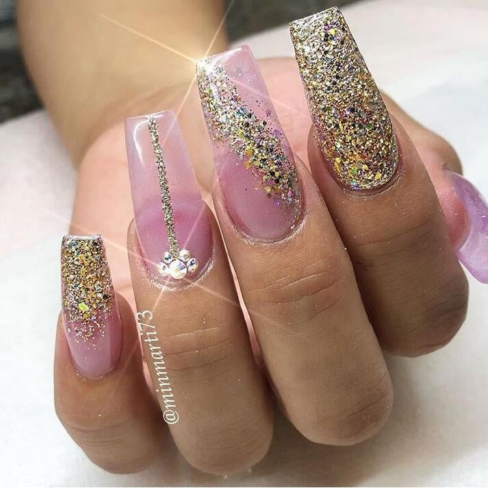 4Pcs/Set Shining Dust Nail Art Glitter Decoration Pigment Dipping Powder Chrome Sequin Pink Laser Silver Polish Manicure Tool