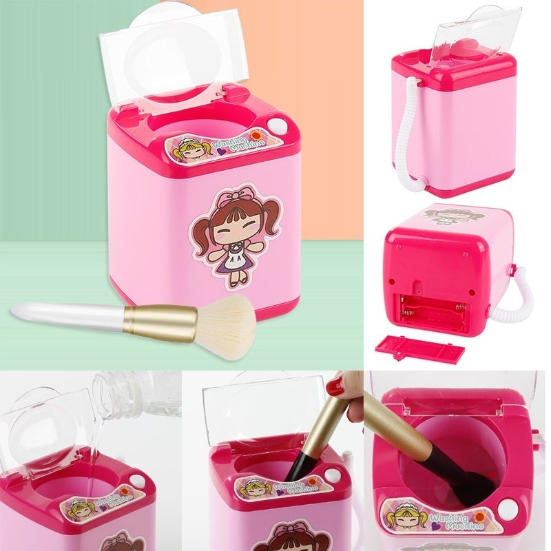 2019 Hot Sales New Upgrade 1Piece Mini Electric Washing Machine Dollhouse Toy Very Useful Wash Makeup Brushes(6 colors)