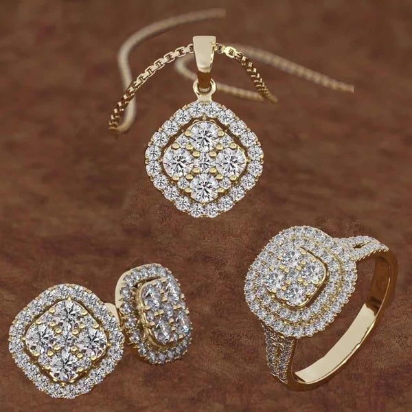 Quality Fashion Womens 18k Gold and Diamond Hoop Earrings Wedding Party Engagement Gift Ring Earring Necklace Set