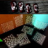 50 Sheets/set Mix Black White Colorful Flower Nail Art Stickers Decal DIY Decor