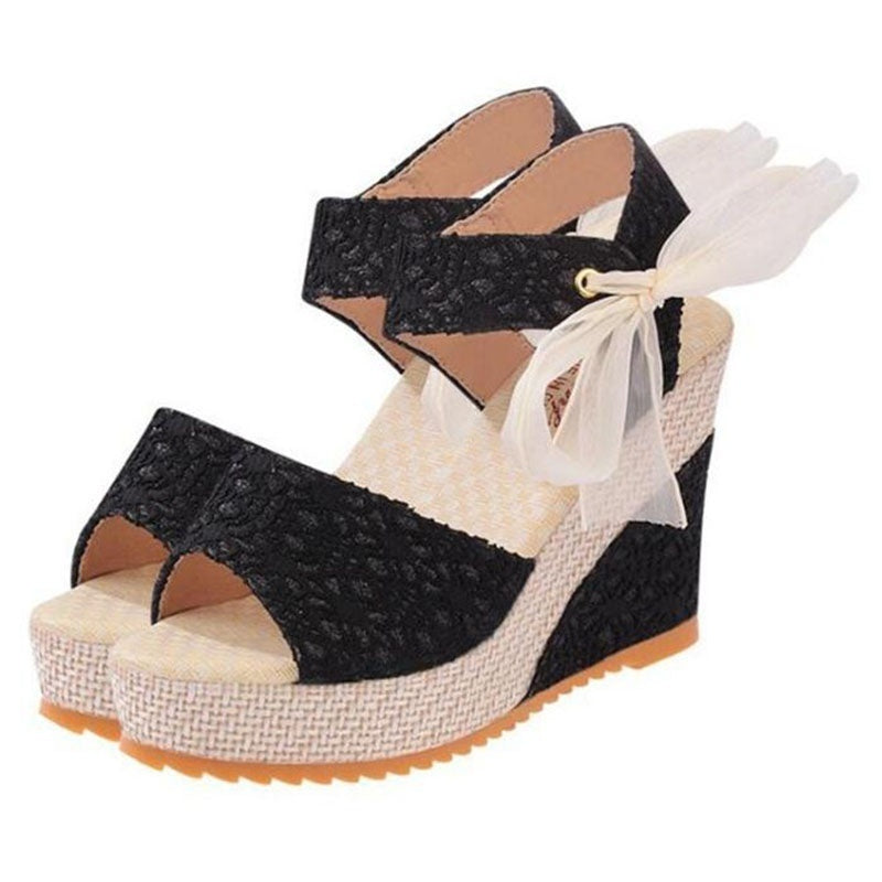 Women Fashion Summer Platform Wedge Sandals Ankle Strap Fish Mouth Espadrilles Sandals Sandalias Femininas Sandalen Sandales