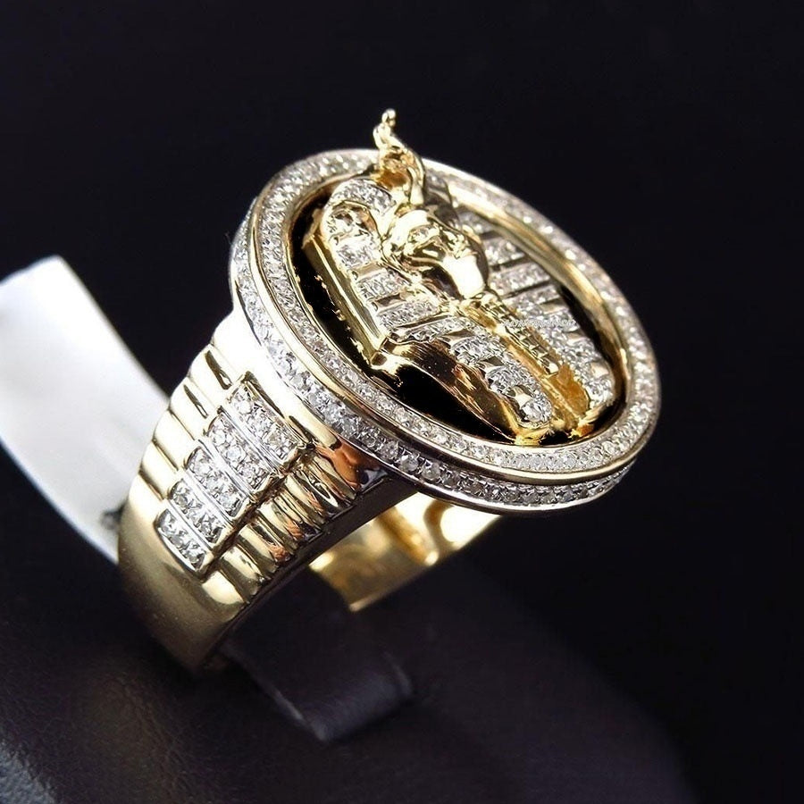 Men's Luxury 18K Gold Watchband Diamond Two-Color Egyptian King Tutankhamun Ring Antique Egyptian Pharaoh Wedding Gold Ring