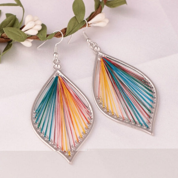 925 Sterling Silver Handmand Silk thread Big Leaf Dangle Earrings Women Jewelry